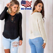 US Women Sexy V Neck Knitted Lace Up Bandage Casual Pullover Jumper Tops Sweater