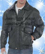 New Mens Black Leather Bomber Jacket Coat Size L XL 2X 3X 4X