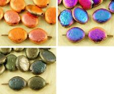 16pcs Metallic Rough Rustic Etched Oval Flat Czech Glass Beads 12mm x 10mm