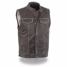 Milwaukee Leather Men's Distressed Grey Club Style Vest W/ Snap/Zipper **MLM3513