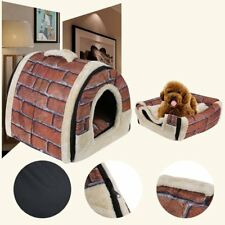 Foldable Dog Puppy Cat House Kennel Nest Bed With Mat Pet Travel Bed Tent UH