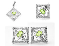 925 Sterling Silver Set with Peridot Gemstone Ring Pendant Earring Handcrafted