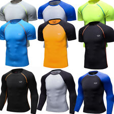 Mens Compression Skin Base Layers Running Athletic Gym T-shirts Dri fit Slim fit