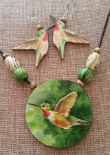 Humming Bird Watercolor Pendant & Earring Set