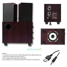 USB Mini Wooden 2.1 Channel Sound Stereo Embedded Speaker for Phone PC Computer