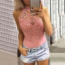 Women Solid Lace Splicing Hollow Out Sleeveless Sexy Summer Tops Tank Top