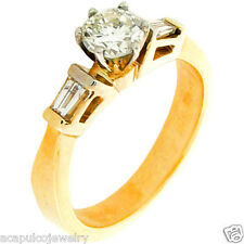 Round Diamond Solitaire w/ Accent Ladies Engagement Ring 14K Yellow Gold