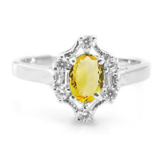 925 Sterling Silver Ring with Yellow Citrine Natural Gemstone Oval Cut