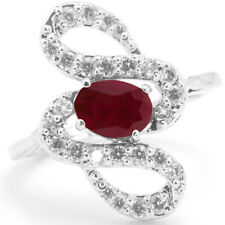 925 Sterling Silver Ring with Red Ruby Natural Gemstone Oval Cut Engagement