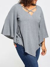 Plus Size Fashion Womens Casual V-neck Batwing Sleeve Tops Blouse T-shirt
