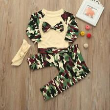 Toddler Infant Kid Baby Girls Boys Camouflage Bow Tops Pants Outfits Set Clothes
