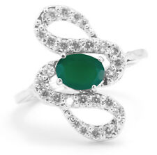 925 Sterling Silver Ring with Green Onyx Natural Gemstone Oval Cut Handmade