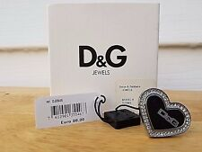 NWT Dolce & Gabbana D&G DJ0545 Silver Fashionable Strass Heart Ring Box Papers