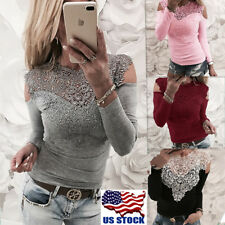 Womens Lace Cold Shoulder Blouse Casual Long Sleeve Tops Slim Fit T Shirt Tee US