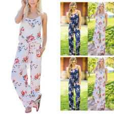 Women's Summer Sling Sleeveless Playsuit Romper Floral Waist Tie Jumpsuit Blouse
