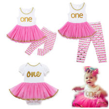 2pcs Infant Baby Girls One Year Tops Tutu Dress Skirt  Striped Pants Outfit Set