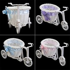 BowKnot Rattan Tricycle Bike  Basket Party Wedding Decor Gift Home Decor SI