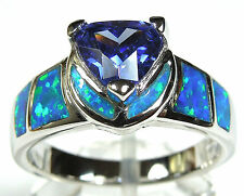 Beautiful Trillion Tanzanite & Blue Fire Opal 925 Sterling Silver Ring 8 or 8.75