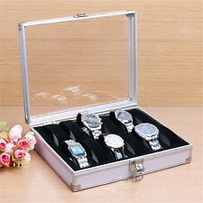 12 Grid Slots Jewelry Watches Display Storage Box Case Aluminium Square LCY