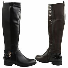 Donna Womens Flats Low Heel Knee High Wide Calf Zip Up Riding Boots Ladies Shoes