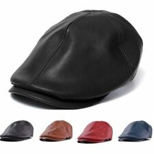 Unisex Men Women Faux Leather Beret Cap Flat Ivy Newsboy Gatsby Cabbie Golf Hat