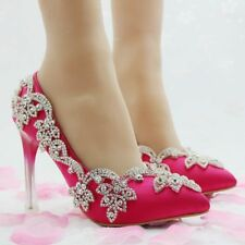 Wedding Shoes Womens Crystal High Heels Red Thin Heels Stiletto Shoes Party New