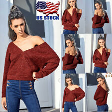 Womens Sexy V Neck Long Sleeve Knit Knitted Sweater Crop Tops Pullover Shirts US