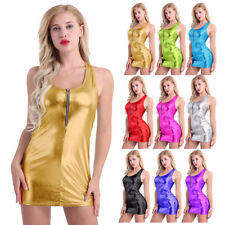 Sexy Women Pu Leather Bodycon Sleeveless Party Cocktail Short Mini Dress Club
