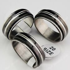 Wholesale Lots 8p-25pcs Double Layer Spin Black 316L Stainless steel Mens Rings