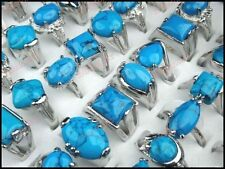 8-25pcs Wholesale Jewelry Lots Turquoise Silver P Women Mens Rings Free Shipping