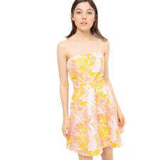 Womens Strapless Exotic Print Jacquard Dress With Back Bow