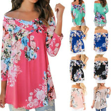 Womens Summer Off Shoulder Floral 3/4 Sleeve Tops Casual Loose Blouse Tee Shirts