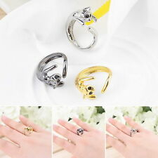 Fashion Jewelry Womens Cool Silver Plated Kitten Cat Ring With Crystal Eyes EL