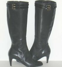 Cole Haan Air Dione Black Tall Leather Patent Strap Buckle Knee High Boots 9.5