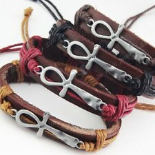 6-12pcs Cross Leather Women Mens Vintage Bracelets Bangle Wholesale Jewelry Lots