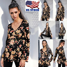Womens Sexy V Neck Long Sleeve Floral Print Casual Blouse T Shirt Tops Blouse US