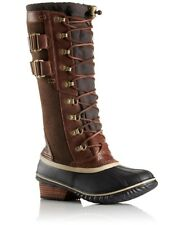 NIB SOREL Conquest Carly Leather/Suede Tall II Boot, Umber(Brown) sz 6.5/8/8.5/9