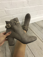 Ladies Grey Cream Beige Faux Suede Heeled Ankle Boots Gold Buckle Detail