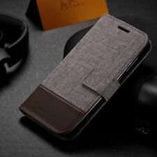 Retro Patchwork Canvas PU Leather wallet Flip Case For Samsung Sony Xiaomi Asus