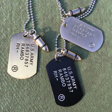 Mens Military Army Bullet Dog Tags Charm SINGLE EMBOSSED Chain Pendant Necklace