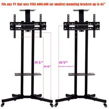 "TV Cart Stand Plasma LCD LED Flat Screen Panel w/ Wheels Mobile Fits 32-65"" LOT"