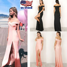 Women's Off Shoulder Long Party Evening Gown Cocktail Prom Bridesmaid Maxi Dress