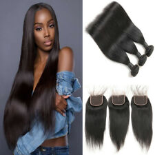 Straight Hair 3Bundles With 4*4Lace Closure Brazilian Virgin Human Hair Weave 9A