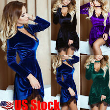 Women's Velvet V Neck Long Sleeve Lace Mini Dress Evening Party Cocktail Dresses