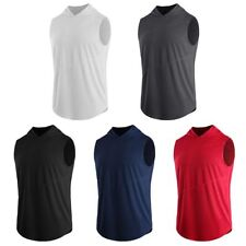 Plus Size Men Hoodie Sleeveless Vest Tank Tops Sports Fitness T-Shirts Quick Dry