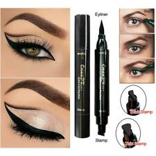 Thin Thick Stamp Eyeliner Pen Double Head Black Stamps Kitten Eyeliner Tool BY #