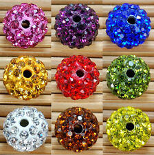 10Pcs Crystal Rhinestones Spacer Beads Clay Disco Ball Pave Round Czech