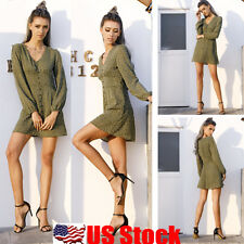 Womens Long Sleeve Wave Point Maxi Summer V-neck Short Mini Dress Swing Sundress