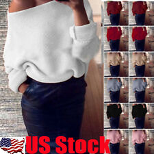 Womens Casual Off Shoulder Knitted Sweater Long Sleeve Jumper Loose Tops Outwear