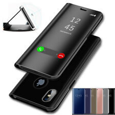 Shockproof Flip Leather Case Smart Plating View Mirror Phone Cover for iPhone8 X
